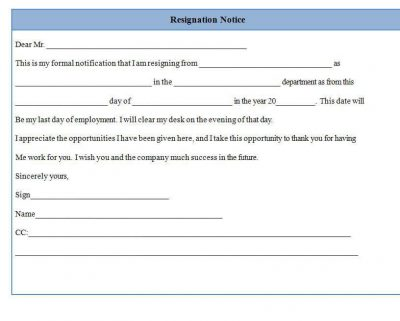 resignation notice form template