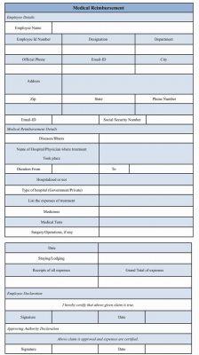Sample Medical Reimbursement Form Template Word