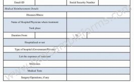 Medical Reimbursement Form Template Word