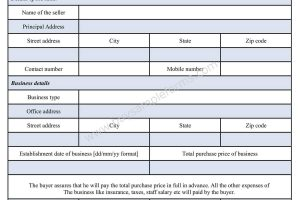 Business Purchase Form Template Word