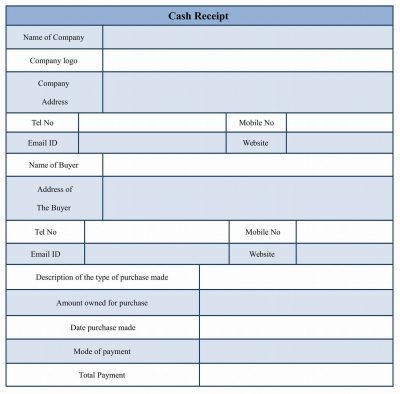 Sample Cash Receipt Form Template Word