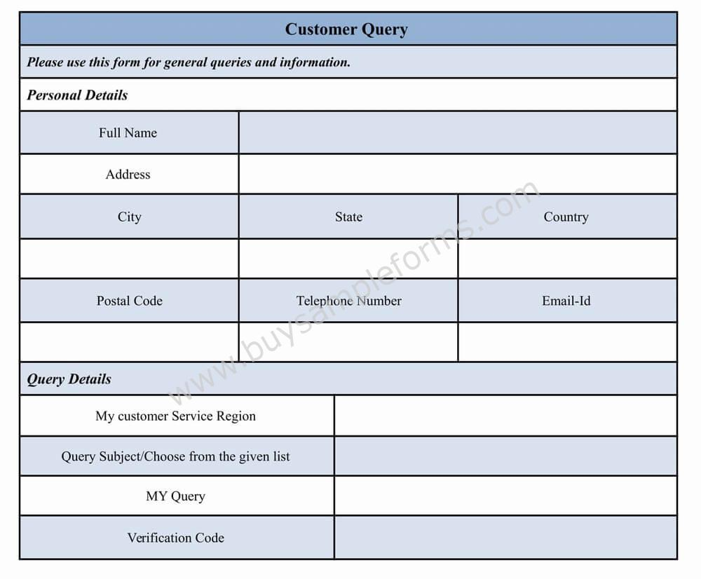 Customer Query Form