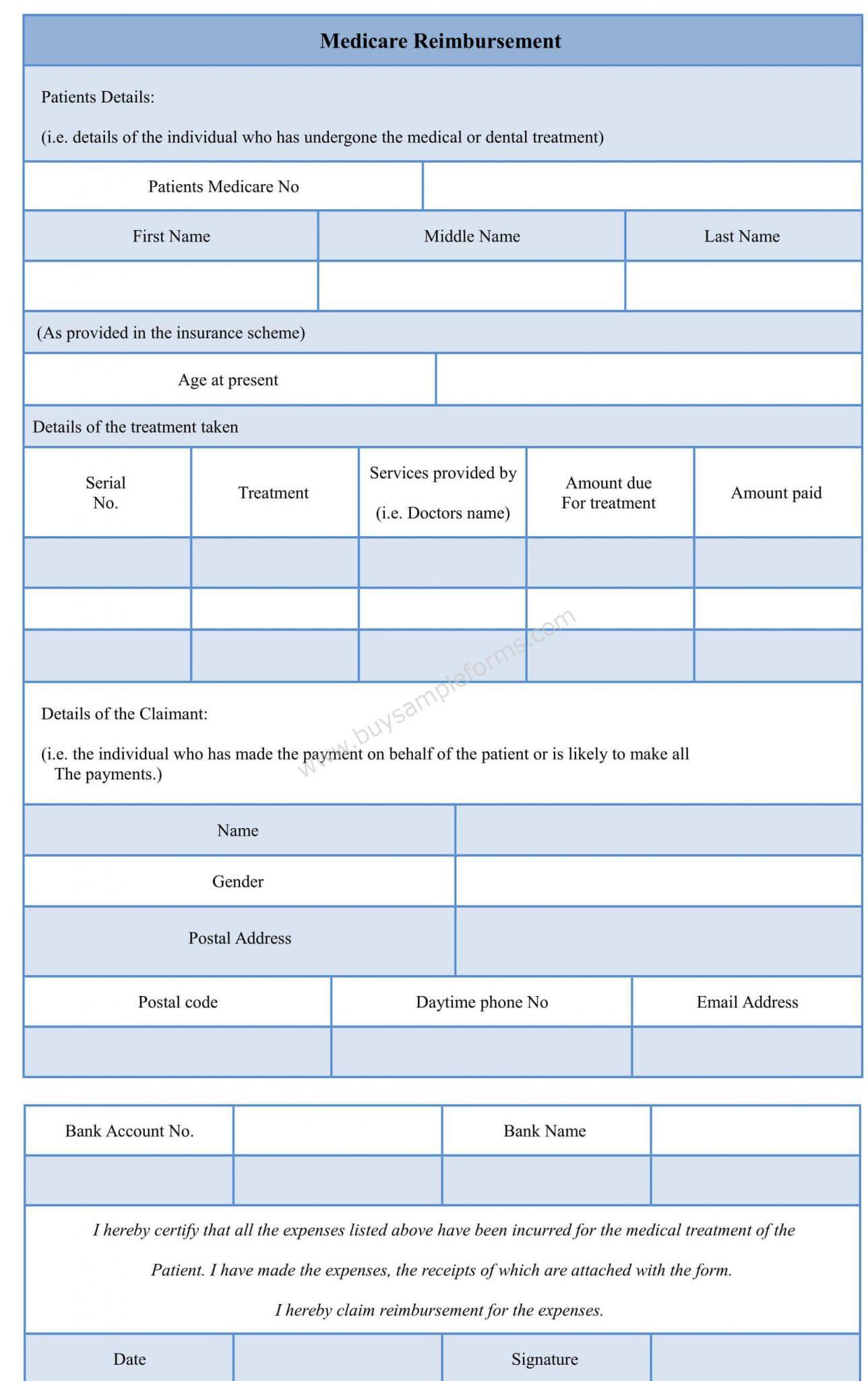 Sample Medicare Reimbursement Form Template
