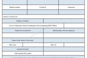 Tuition Fee Reimbursement Form