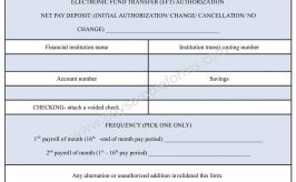 Payroll Direct Deposit Form