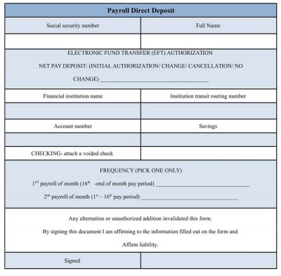 Payroll Direct Deposit Form - direct deposit form template word