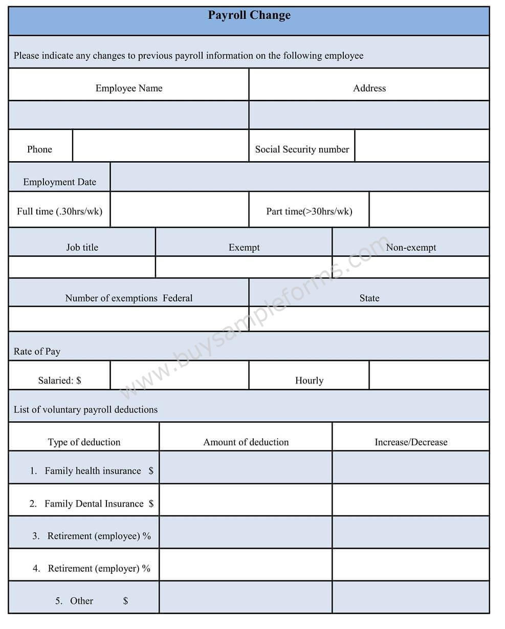 Download Payroll Change Form Word Document Template Sample