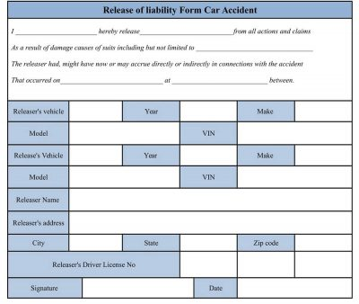 accident waiver and release of liability form, Auto accident template