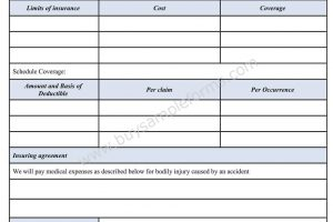 Download Commercial General Liability Form in Word Format