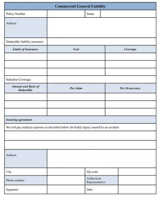 Commercial General Liability Form sample cgl policy, coverage template