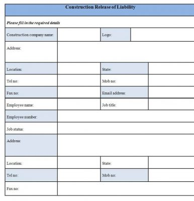 Download Construction Release of Liability Form Template Word format