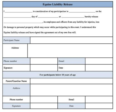 Download Equine Liability Release Form - Riding Release Form template