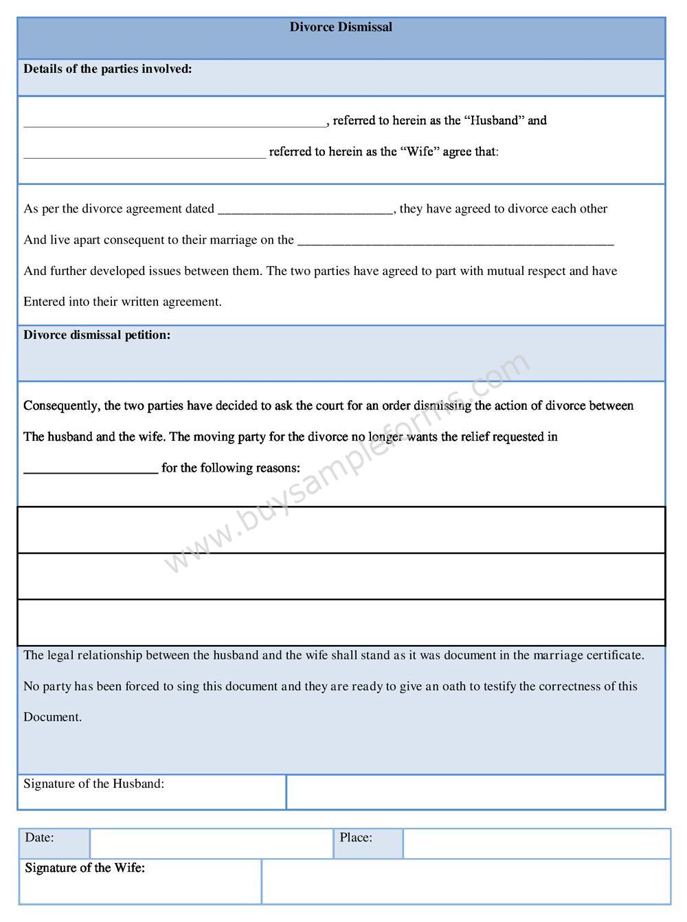 Download Divorce Dismissal Form Template, Divorce Dismissal Form Template Word Format