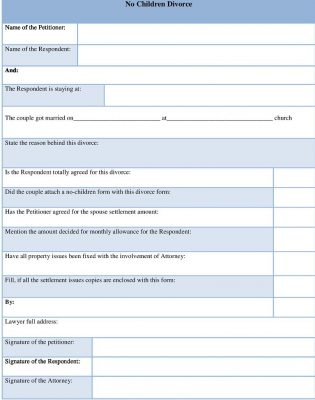 Sample No children divorce form