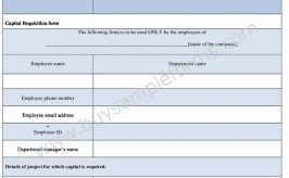 Capital Requisition Form Template in Word Format