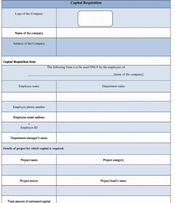 Capital Requisition Form template Word format
