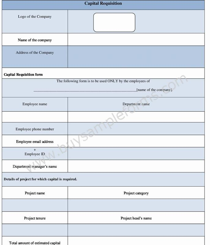 Capital Requisition Form Template In Word Format Sample Forms