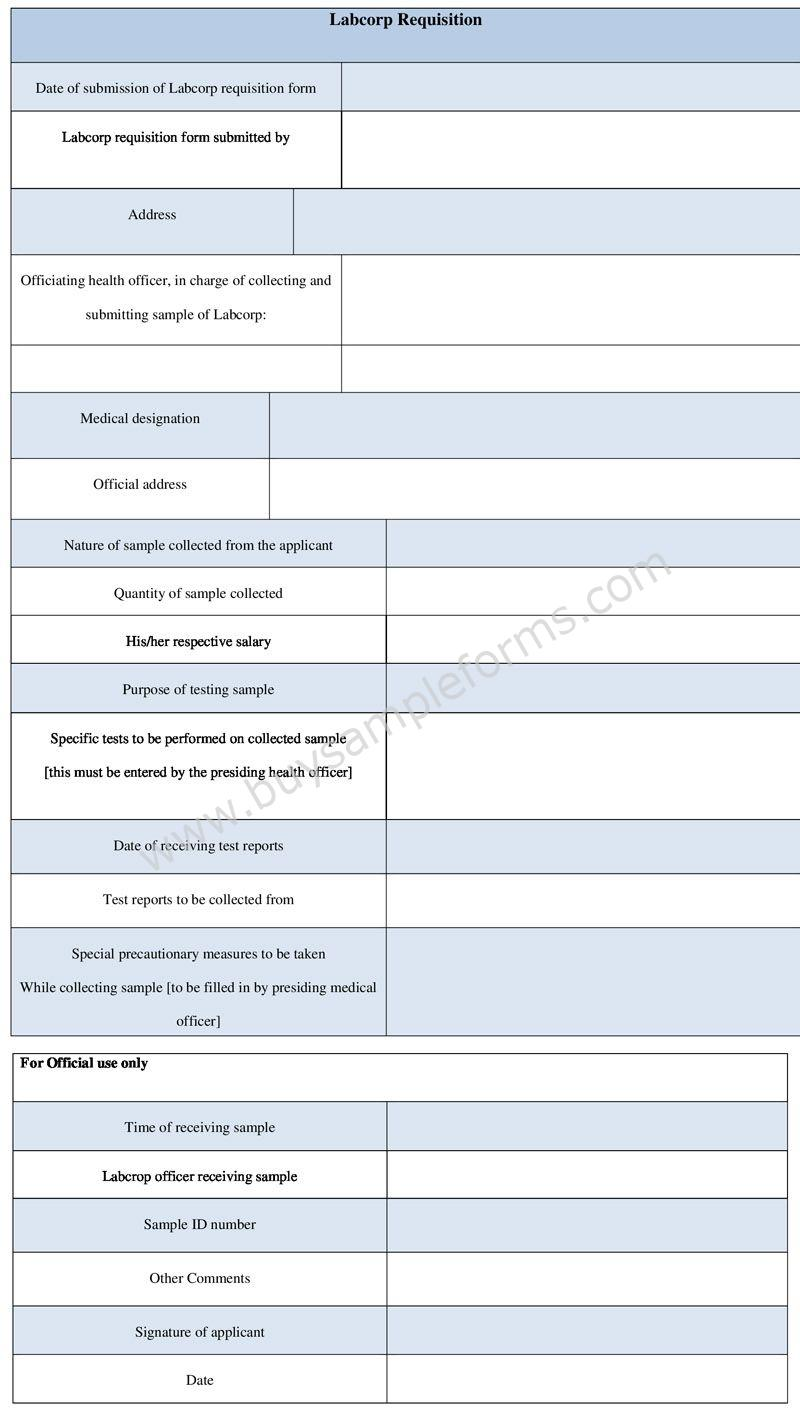 Labcorp Requisition Form Template in Word Format