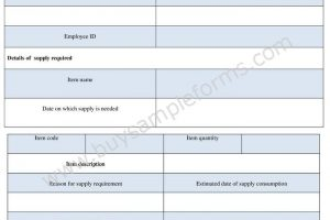 Supply Requisition Form Template in Word Doc Format