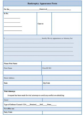 Bankruptcy Appearance template, sample Bankruptcy Form Template