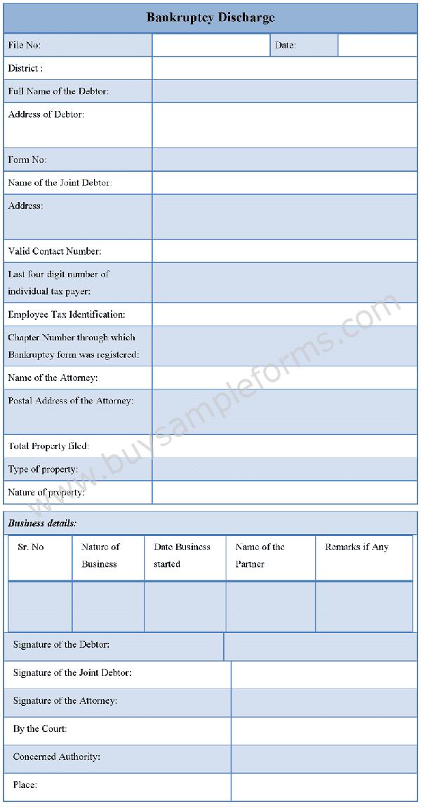 Bankruptcy Discharge Form Template - Sample Bankruptcy Form