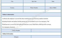 Medical Authorization form Word Template