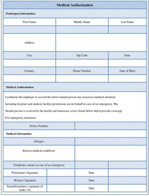 Medical Authorization Form Template
