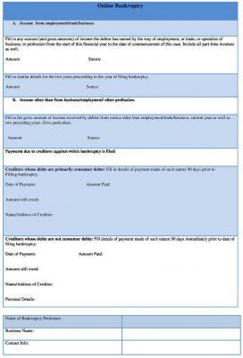 Online Bankruptcy Form Sample - Bankruptcy Form Template