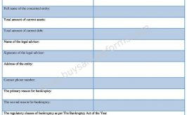 Suggestion of Bankruptcy Form Template