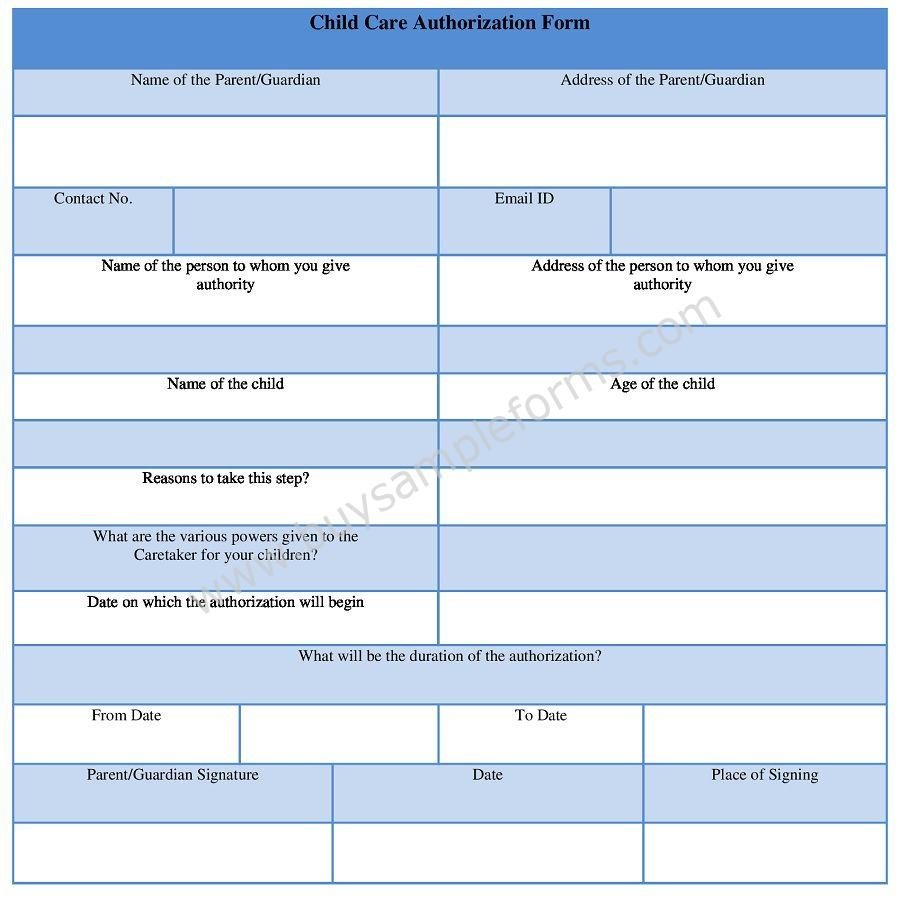 Child Care Authorization Form Template Sample