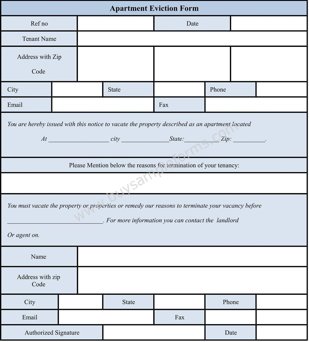 Printable Apartment Eviction form Template