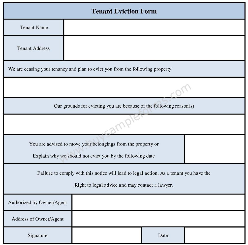 Tenant Eviction Form - Eviction Notice Template