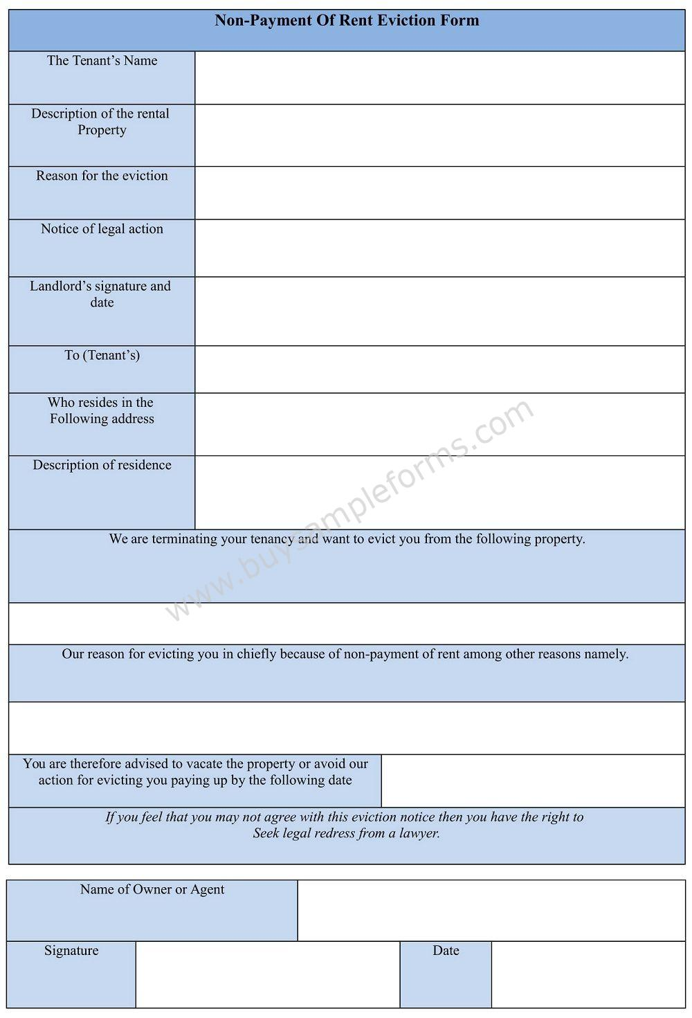 Non-Payment of Rent Eviction Form template
