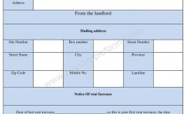 Notice of Rent Increase Form Template in Word Format