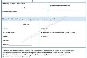 Expense Claim Form Template for Small Business