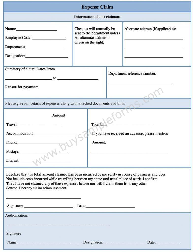 Expense Claim Form - Expense Form Template for Small Business