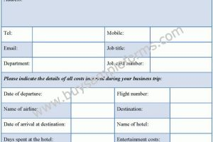 Printable Travel Expense Form Template in Word