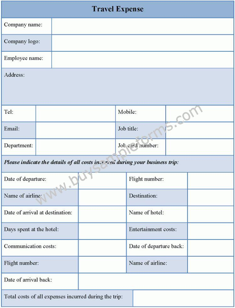 Printable Travel Expense Form Template