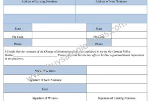 LIC Nomination Change Form Sample – Download Word Format