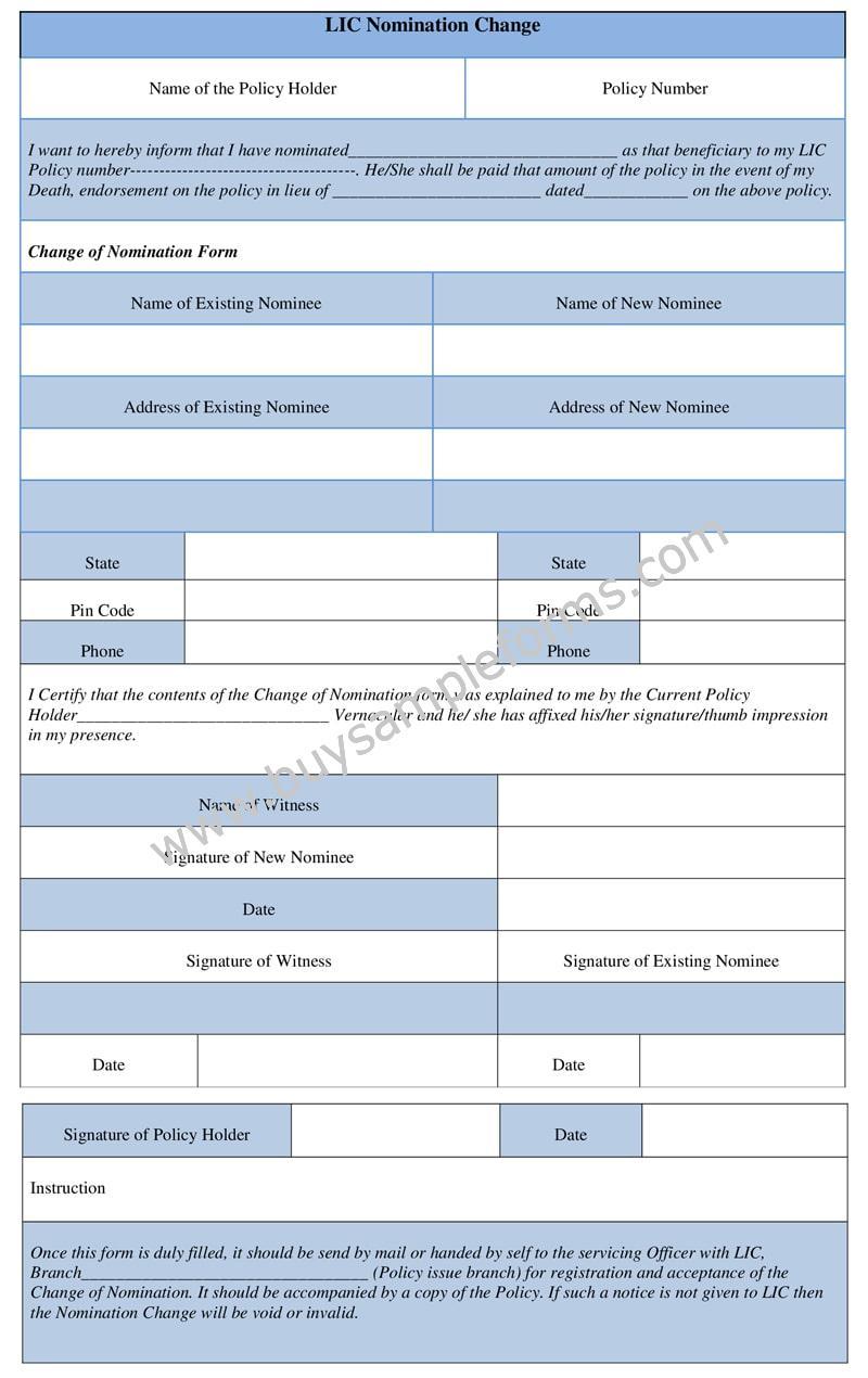 LIC Nomination Change Form Sample - Nomination Online Template