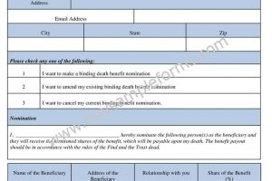 Binding Death Benefit Nomination Form Template