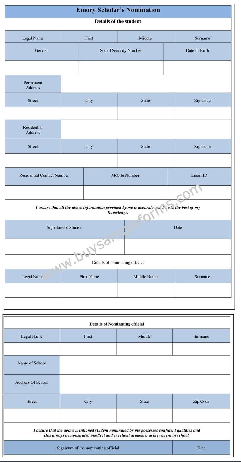 Emory Scholars Nomination Form template