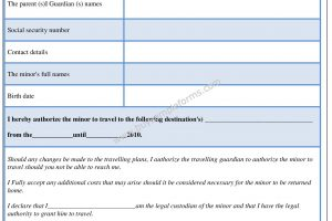 Minor Child Travel Consent Form Sample Template