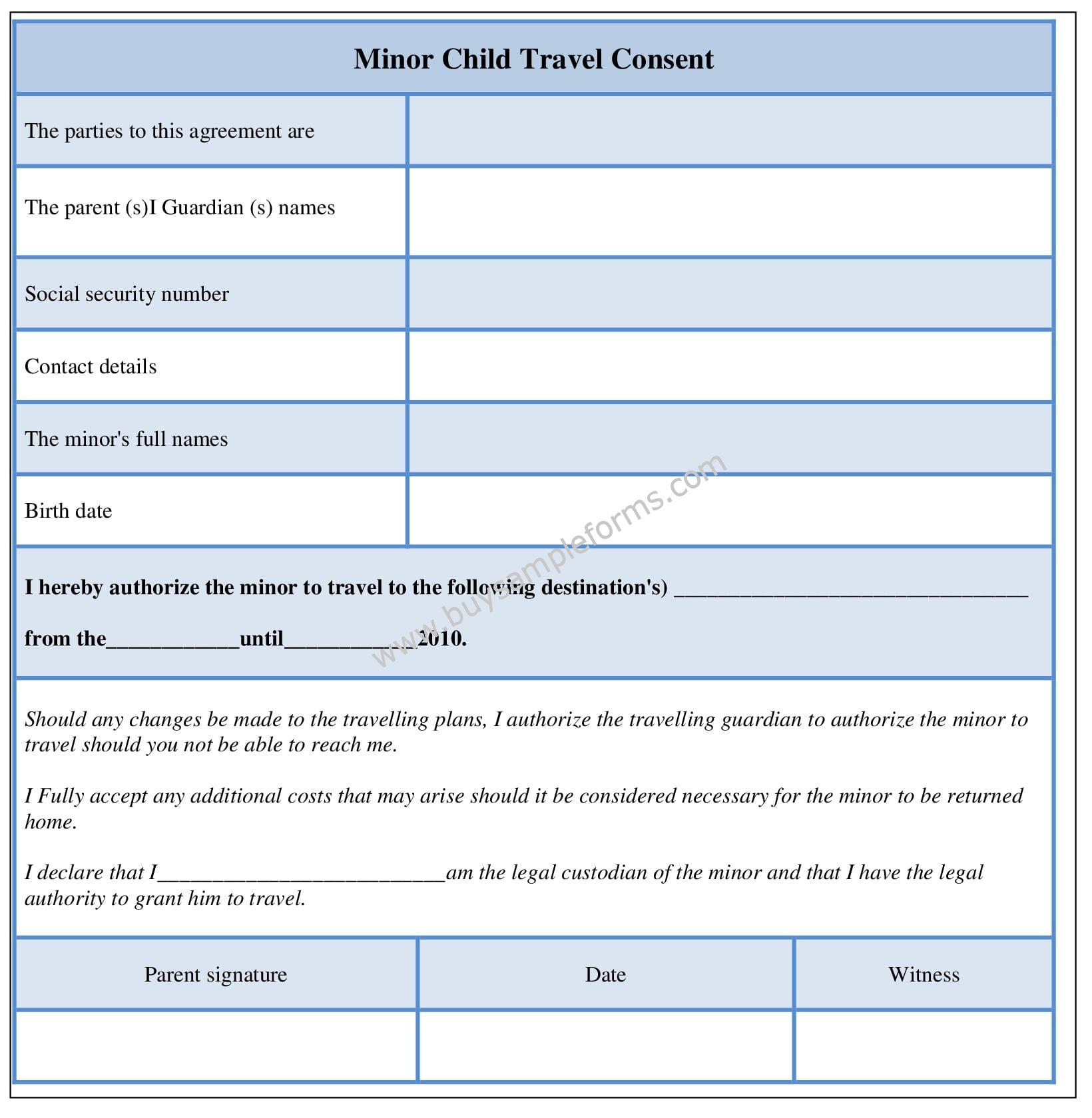 Minor Child Travel Consent Form - Sample Consent Template