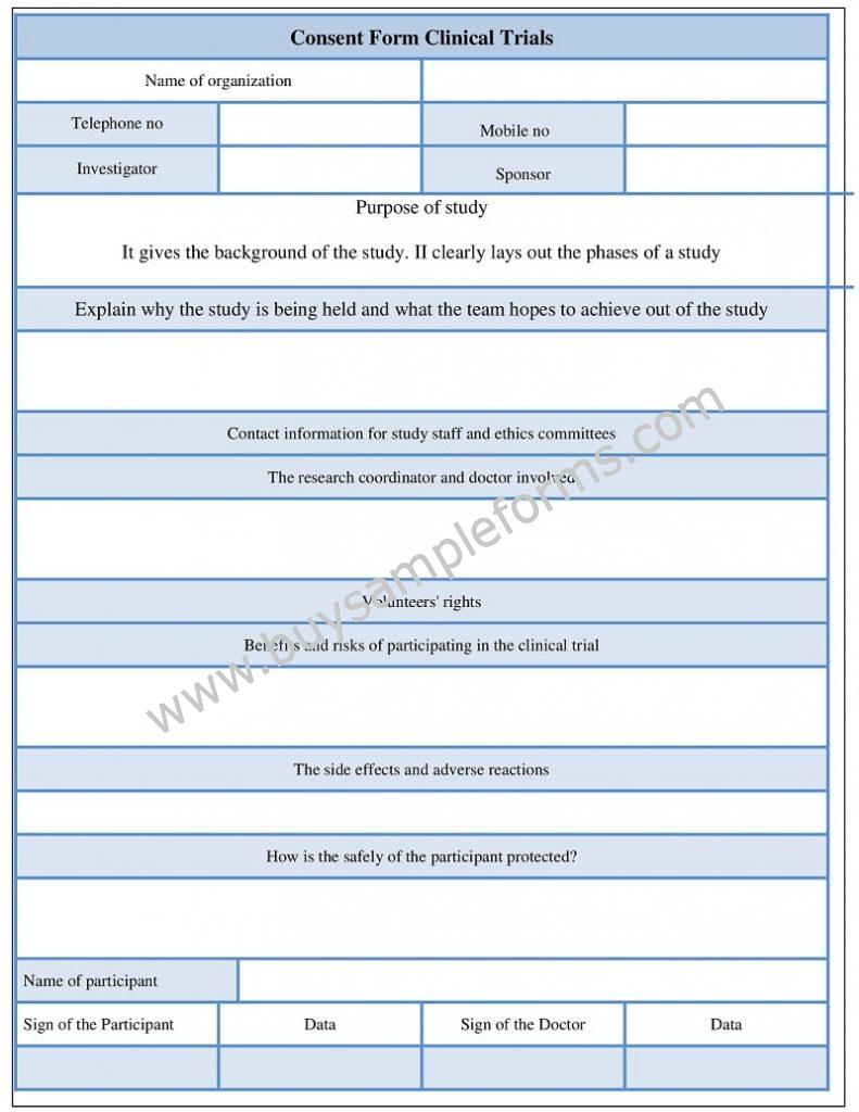Informed Consent form Clinical Trials Template - Sample Consent form