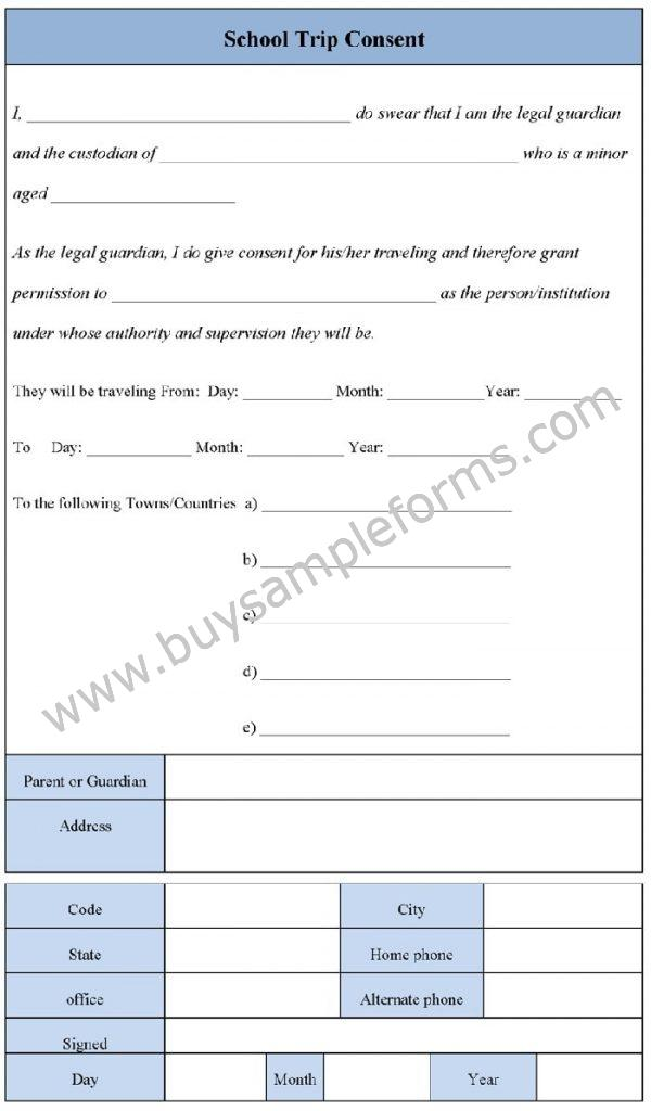 School Trip Consent Form Template - Consent Form