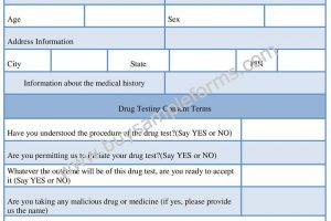 Alcohol / Drug Testing Consent Form Template