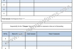 Sample Account Reconciliation Form Template