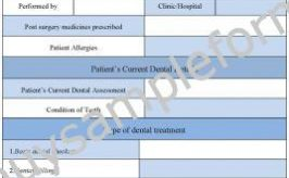 Dental Treatment Consent Form Template