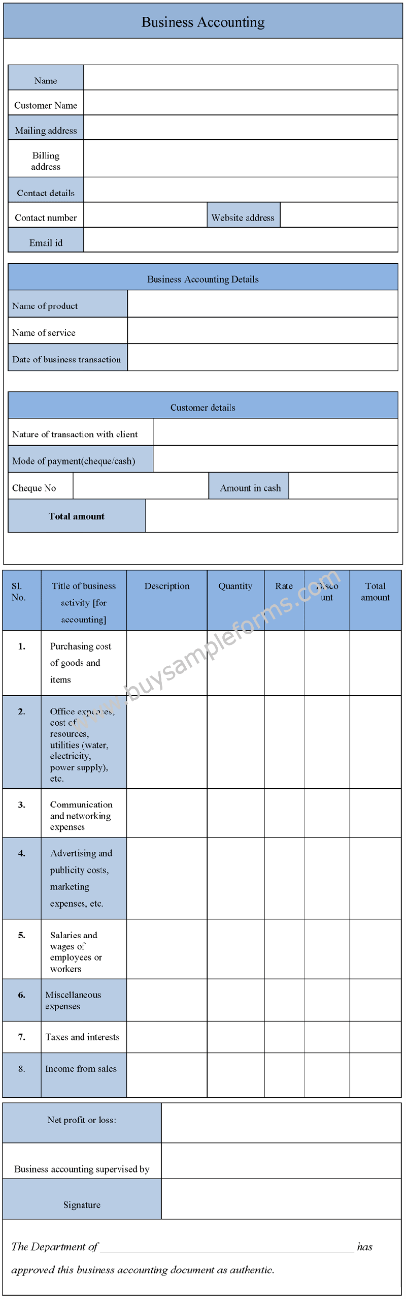 Sample Business Accounting Form, Accounting Template